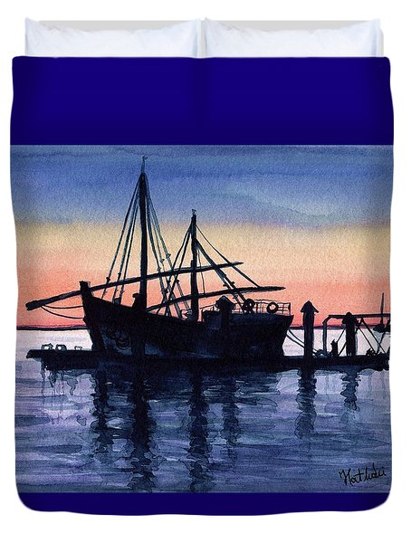 Duvet Cover featuring the painting Portuguese Fishing Boat by Dora Hathazi Mendes