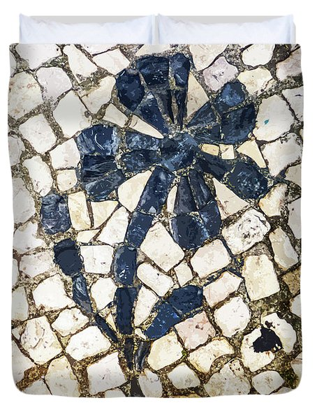 Portuguese Pavement With A Flower Detail Duvet Cover