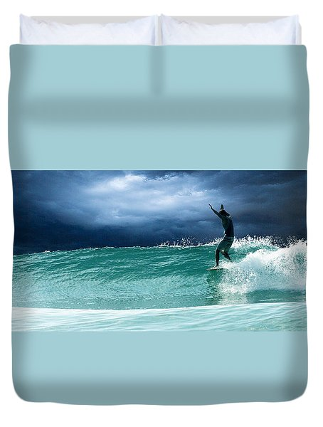 Duvet Cover featuring the digital art Poseiden's Prayer by William Love