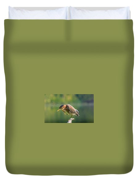 Duvet Cover featuring the photograph Posing Heron by Jerry Cahill