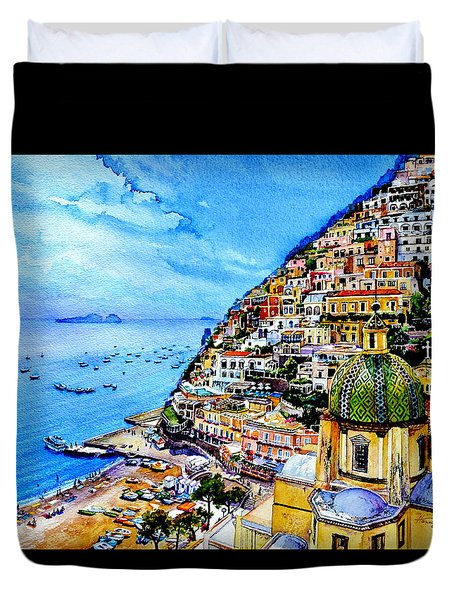 Duvet Cover featuring the painting Positano by Hanne Lore Koehler