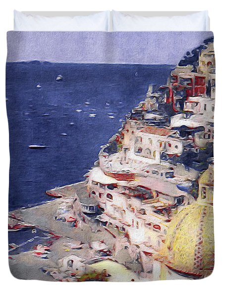 Duvet Cover featuring the mixed media Positano by Susan Maxwell Schmidt