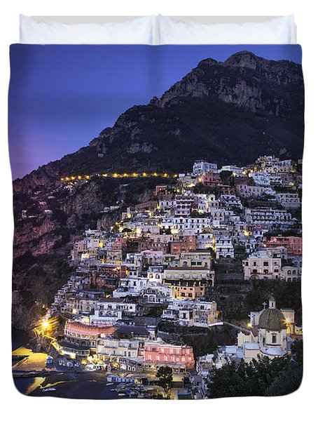 Duvet Cover featuring the photograph Positano Twilight by Brian Jannsen