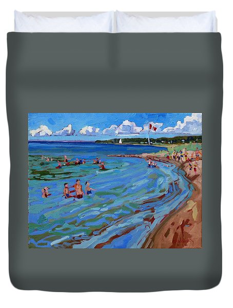 Positively Buoyant Beach People Duvet Cover by Phil Chadwick