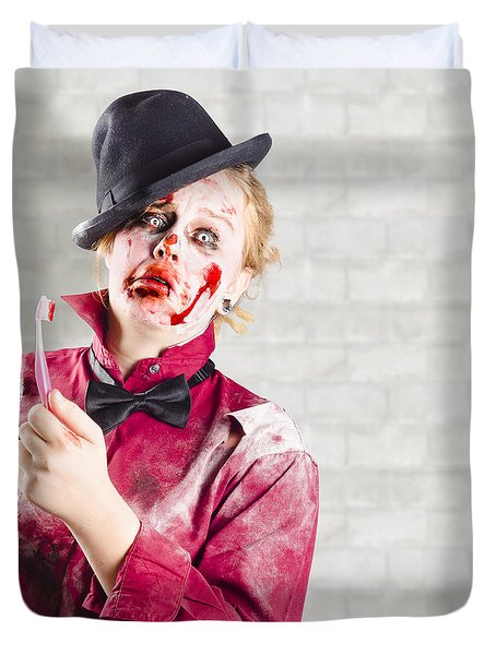 Possessed Girl With Bloody Toothbrush. Gum Disease Duvet Cover