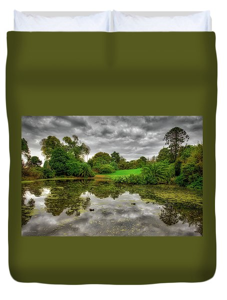 Duvet Cover featuring the photograph Post-modern Ducks by Ross Henton