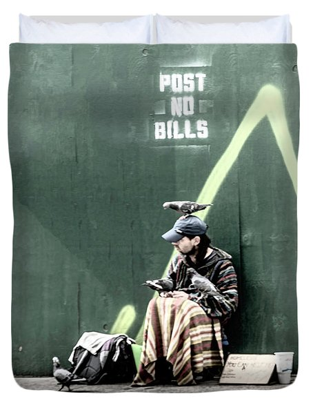 Duvet Cover featuring the photograph Post No Bills by Marvin Spates