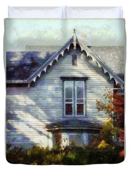 Duvet Cover featuring the photograph Postage Due - Farmhouse Window by Janine Riley