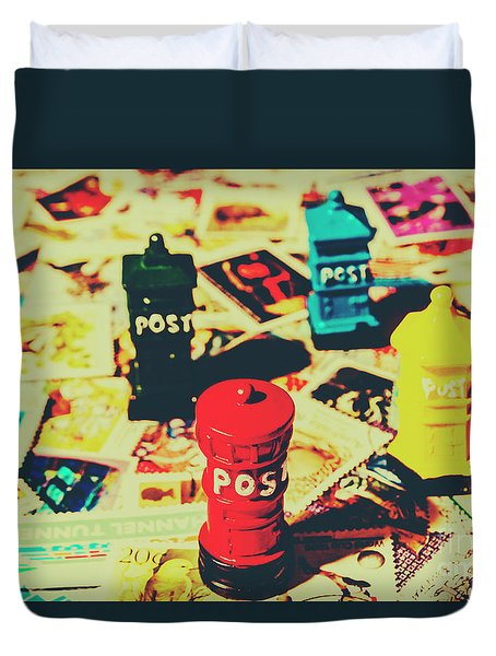 Duvet Cover featuring the photograph Postage Pop Art by Jorgo Photography - Wall Art Gallery