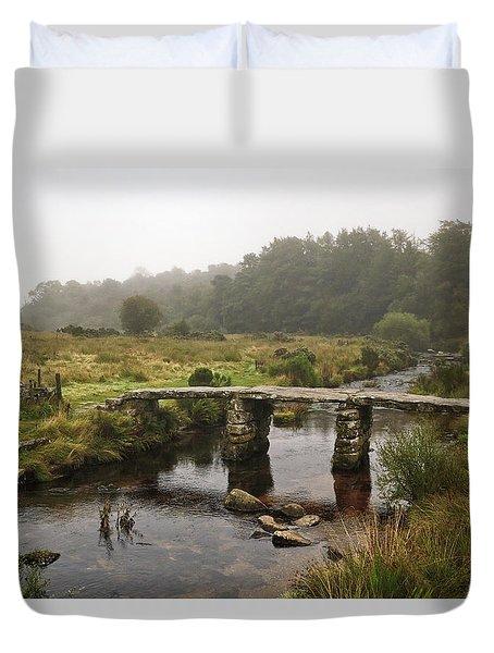 Postbridge Clapper Bridge In Dartmoor  Duvet Cover by Shirley Mitchell
