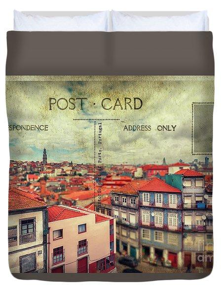 postcard of Porto Duvet Cover