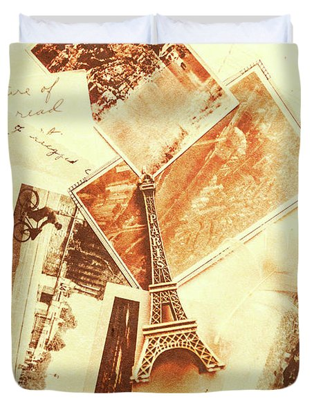 Postcards And Letters From The City Of Love Duvet Cover