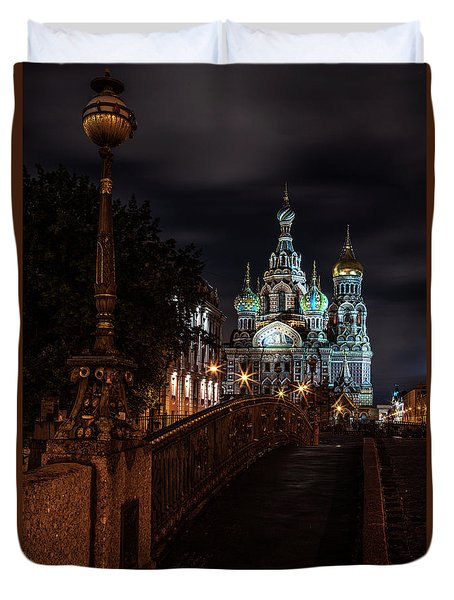Postcards From Sankt Petersburg - Beautiful Church At Night Duvet Cover