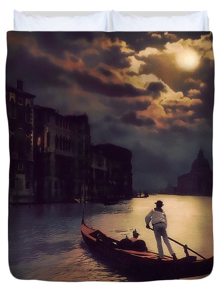 Postcards From Venice - The Red Gondola Duvet Cover