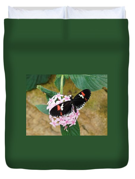 Duvet Cover featuring the photograph Postman Butterfly, Heliconius Melpomene by Paul Gulliver