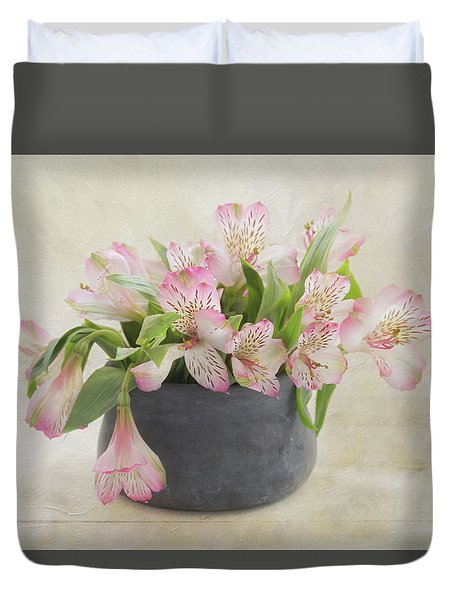 Duvet Cover featuring the photograph Pot Of Pink Alstroemeria by Kim Hojnacki