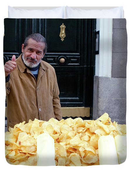 Potato Chip Man Duvet Cover by Lorraine Devon Wilke