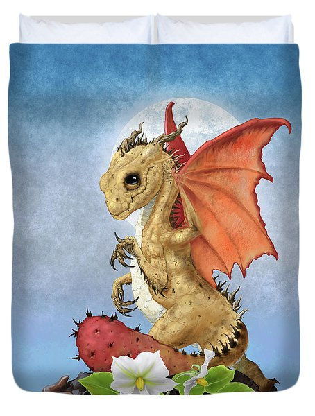 Duvet Cover featuring the digital art Potato Dragon by Stanley Morrison