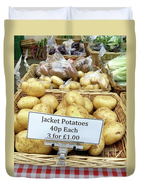 Potatoes At The Market  Duvet Cover by Tom Gowanlock