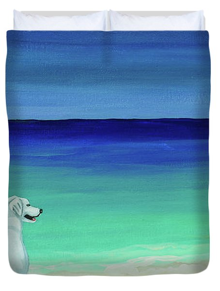 Lab Potcake Dogs On The Beach Duvet Cover