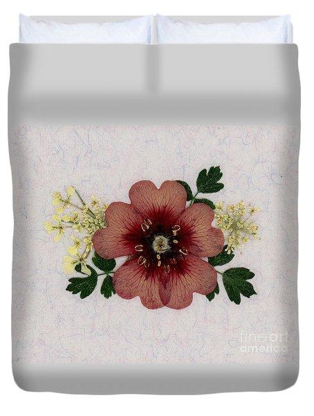 Potentilla And Queen-ann's-lace Pressed Flower Arrangement Duvet Cover