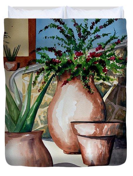 Pots And Bougainvillea Duvet Cover