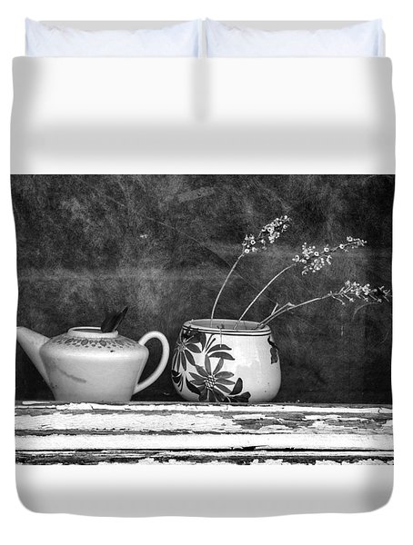 Duvet Cover featuring the photograph Pots On Windowsill by Betty Denise