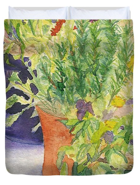 Duvet Cover featuring the painting Potted Beauties  by Vicki  Housel