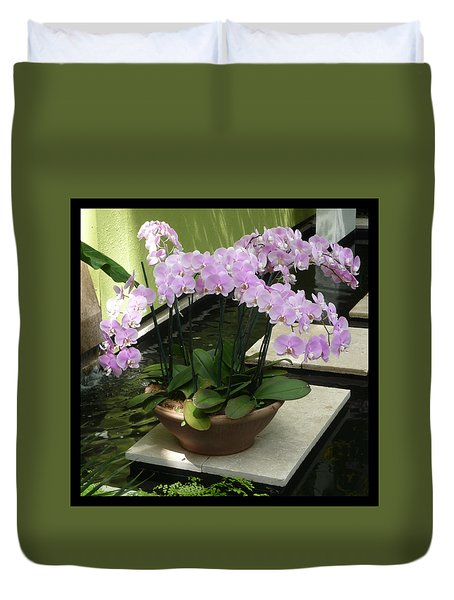 Duvet Cover featuring the photograph Potted Phalaenopsis-orchids by Margie Avellino