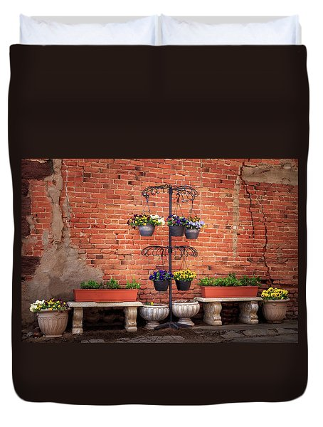Duvet Cover featuring the photograph Potted Plants And A Brick Wall by James Eddy