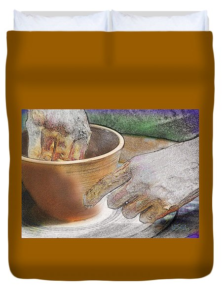 Potter's Hands Duvet Cover