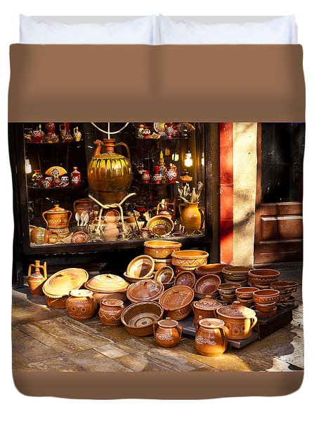 Pottery In The Bazaar Duvet Cover by Rae Tucker