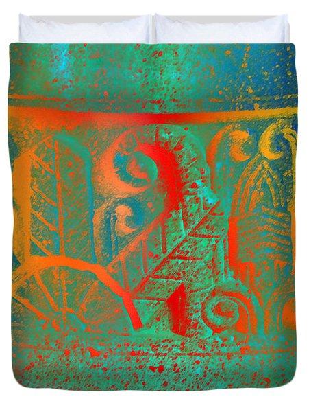 Pottery On The Street Duvet Cover by Lenore Senior