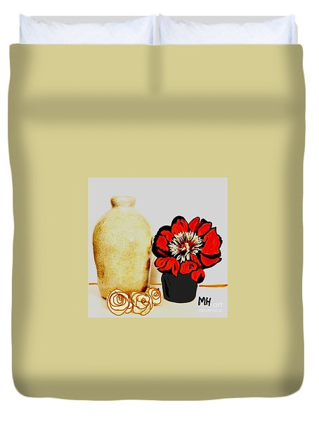Duvet Cover featuring the painting Pottery Peony Roses by Marsha Heiken