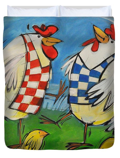 Poultry In Motion Duvet Cover by Tim Nyberg