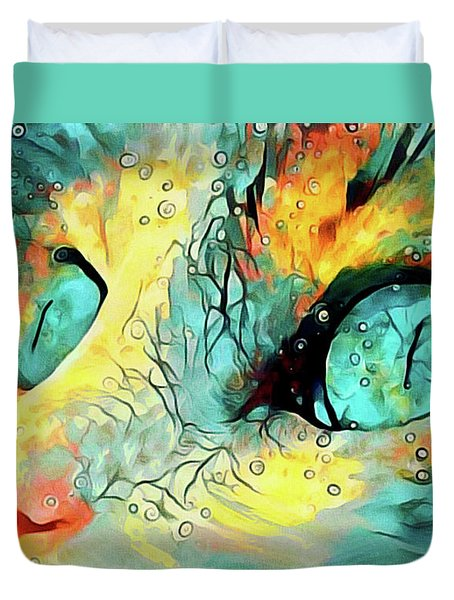 Duvet Cover featuring the mixed media Pouncival by Susan Maxwell Schmidt
