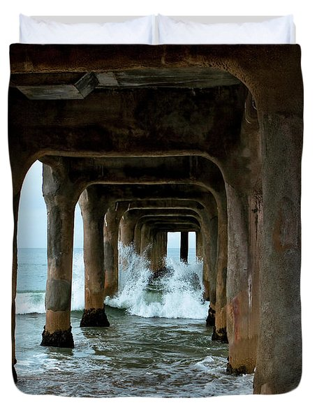 Duvet Cover featuring the photograph Pounded Pier by Lorraine Devon Wilke