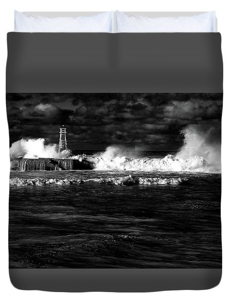 Duvet Cover featuring the photograph Pounding The Breakwater by Nareeta Martin
