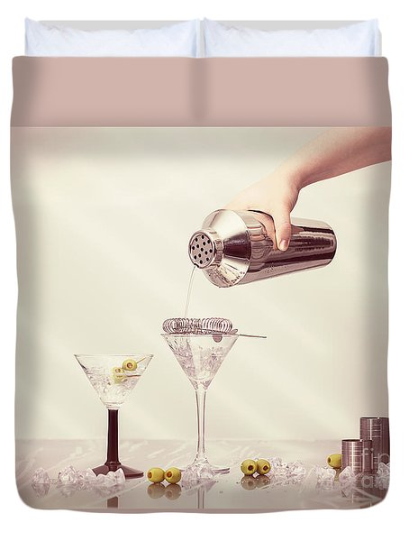 Pouring A Martini Duvet Cover