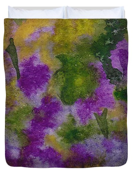 Duvet Cover featuring the painting Pouring Flowers by Vicki  Housel