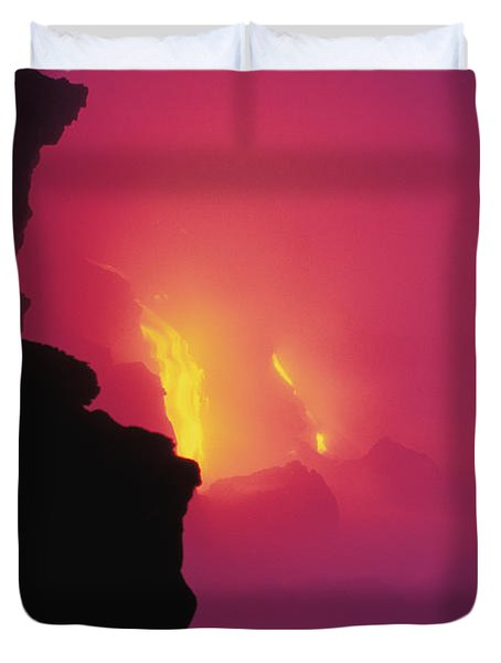 Pouring Lava Duvet Cover by William Waterfall - Printscapes