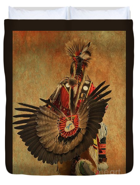 Duvet Cover featuring the mixed media Pow Wow 2 by Jim  Hatch
