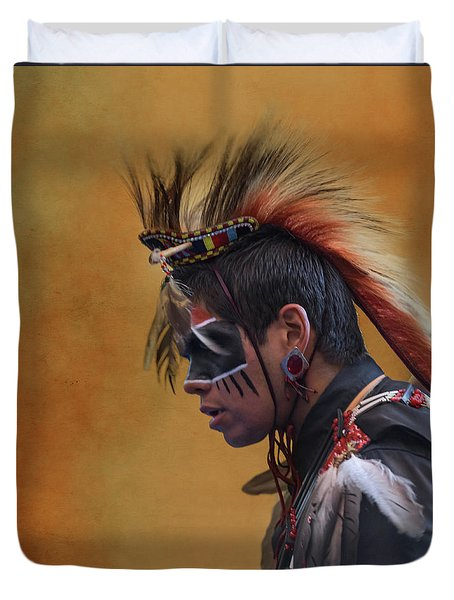 Duvet Cover featuring the mixed media Pow Wow by Jim  Hatch