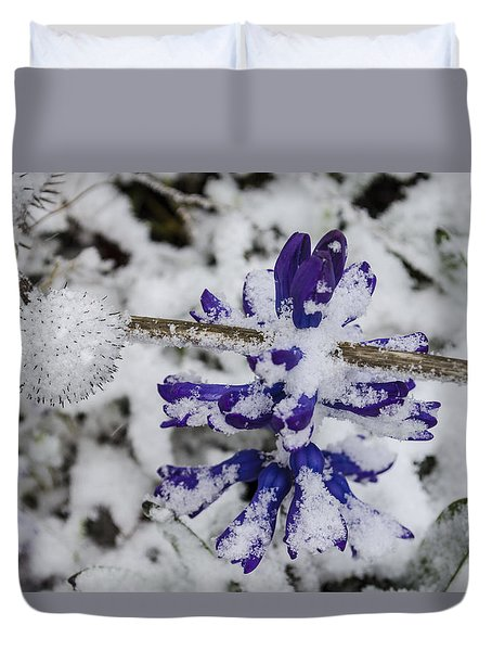 Duvet Cover featuring the photograph Powder-covered Hyacinth by Deborah Smolinske