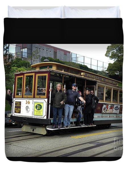 Duvet Cover featuring the photograph Powell And Market Street Trolley by Steven Spak