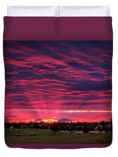 Powell Butte Oregon Sunset Duvet Cover