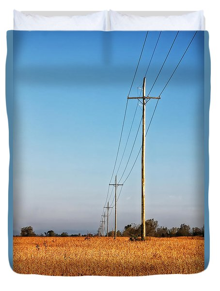 Duvet Cover featuring the photograph Power Lines At Sunrise by Lars Lentz