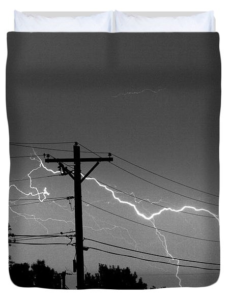 Power Lines Bw Fine Art Photo Print Duvet Cover