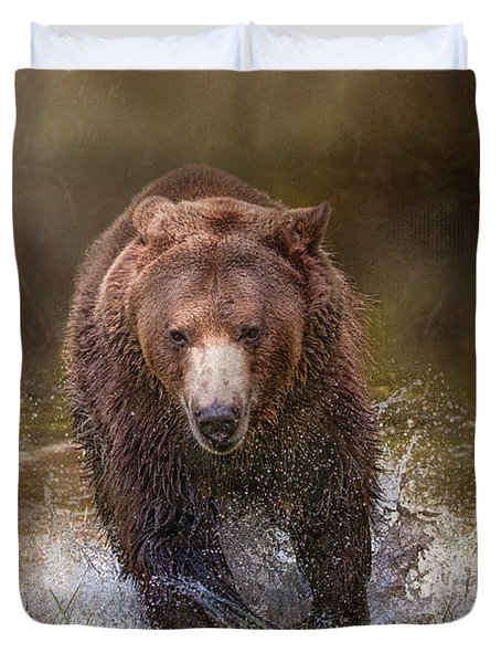 Power Of The Grizzly Duvet Cover