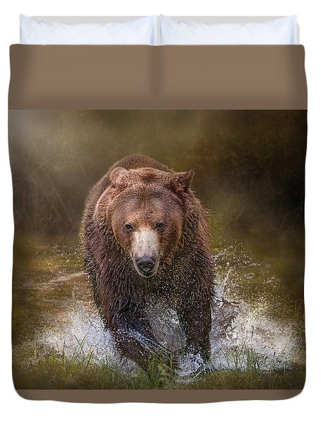 Duvet Cover featuring the digital art Power Of The Grizzly by Nicole Wilde